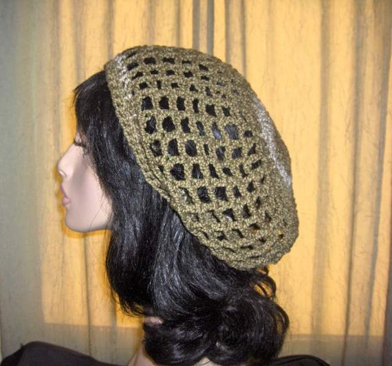 SALE Slouchy Crochet Cotton Hat Handmade Womens Tam Hat