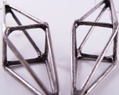 octahedron earrings - oxidized silver