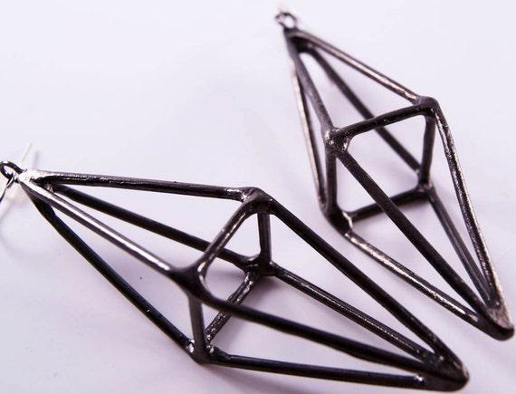 octahedron earrings - oxidized gunmetal
