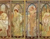 Art Print on SILK Alphonse Mucha - Times of the Day - 4 Ladies - 7x10 - fiber arts - fabric collage