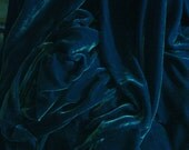 SILK VELVET fabric 28 percent silk 72 percent rayon - OCEAN dk teal blue - fiber arts, art to wear, collage, crazy quilt doll clothes