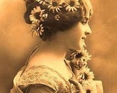 ART SILK panel Vintage lady with flowers in hair Sepia tones use in collage - fiber arts - doll clothes - Art To Wear