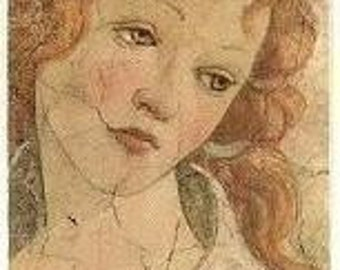 renaissance LADY w Red hair and a wistful expression Silk print - embroider it embellish it bead it collage it - all manner of fiber arts