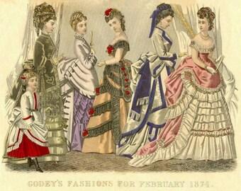 ART SILK  Fiber Arts Embellishment Godey's Fashions for February 1874 for COLLAGE fiber arts Embellishing Beading Crazy Quilts
