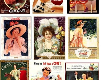 SILK art panel - 9 different images of VINTAGE COKE adverts