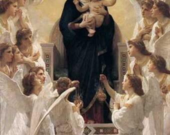ART PRINT on Silk - Collage - Embellish - 100o/o silk panel - Madonna and Child w Choir of Angels
