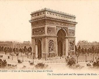 ART SILK - L'Arc de Triomphe Triumph PARIS Etoile Square Collage Embellish Crazy Quilt Mixed Media
