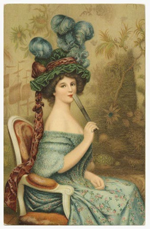 SILK ART IMAGE - FRENCH FASHION - Lady w fan and hat with huge blue feathers