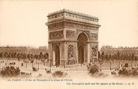 ART SILK - L'Arc de Triomphe Triumph PARIS Etoile Square Collage Embellish Crazy Quilt Mixed Media
