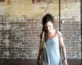 Womens Dress Gray Tencil Organic Cotton Orange Jersey Light Weight Summer Color Blocked in Medium // by Nicoles Threads