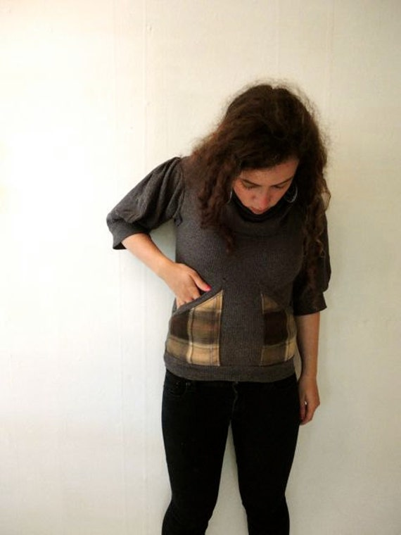 Gray Cowl Blouse with Plaid Flannel Pockets in Small/Medium by Nicoles Threads