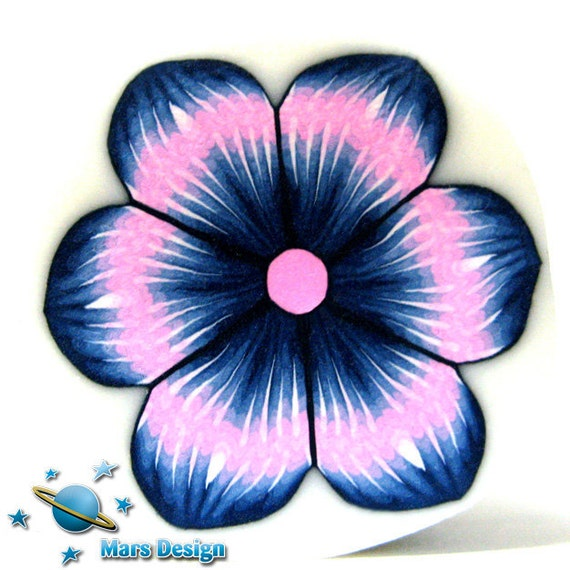 Polymer clay cane PINK BLUE flower  cane -by Mars