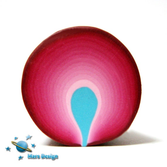 Polymer clay cane burgundy turquoise  PETAL  cane  -by Mars  (2)