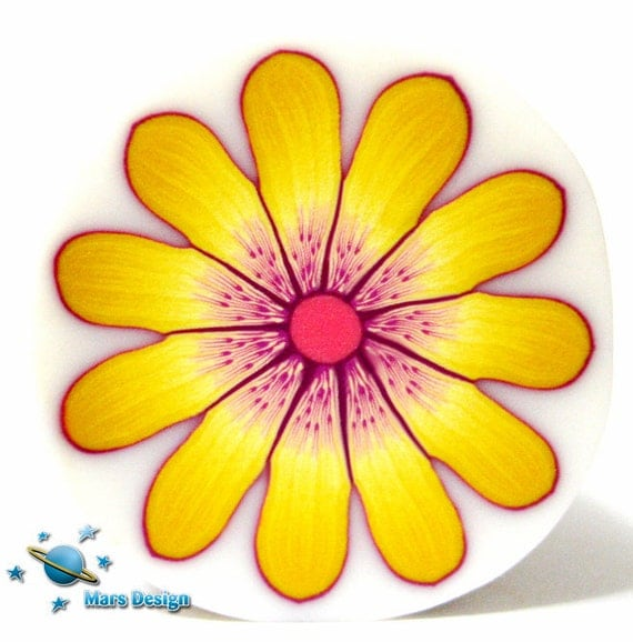Polymer clay cane YELLOW DAISY flower  cane -by Mars
