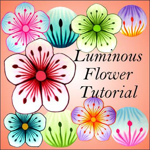 Clay Flowers Tutorials: NEW Tutorial LUMINOUS Flower Cane Pdf Polymer Clay By