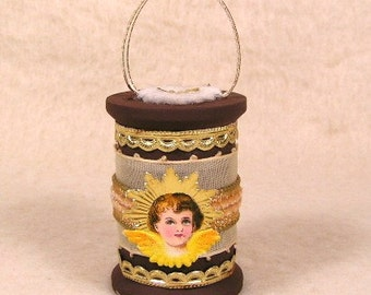 Vintage Style Antique Angel Scrap with Dresdens Spool Ornament