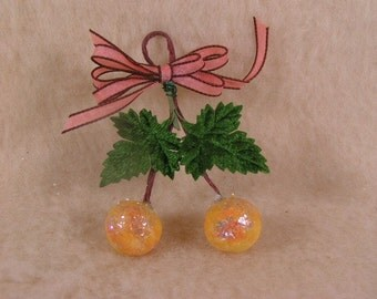 Charming Spun Cotton Yellow Cherries with Antique Mica