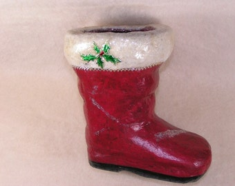 Vintage Style Holiday Stocking/Boot Red Paper Mache with Cotton Batting and Mica