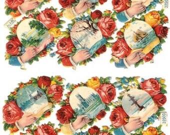 Antique German Paper Scrap Die Cut L&B Calling Card Scenes 12 pieces