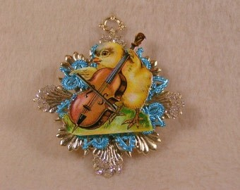 Vintage German Dresden of Blue and Gold Easter Ornament with Antique Die Cut Chick