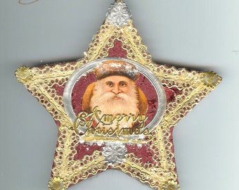 Santa Scrap and Dresden Star Ornament on Embossed Burgundy Foil Paper Mache