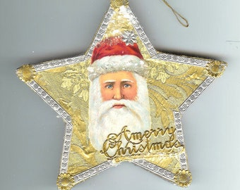 Vintage Santa Scrap and Dresden Star Ornament on Embossed Gold Foil Paper Mache Old World Ornament