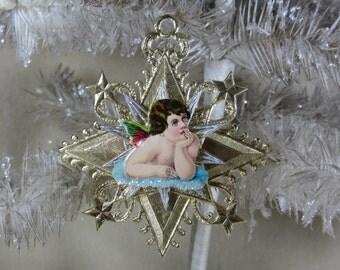 Vintage Gold Dresden Star Ornament with Antique Pondering Cherub Die Cut