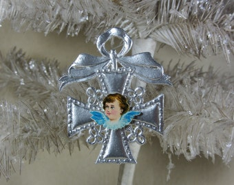 Vintage Silver Dresden Star Ornament with Antique Angel Head Die Cut