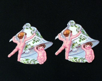 Antique Cupid and Wedding Bells Die Cuts Set of 2
