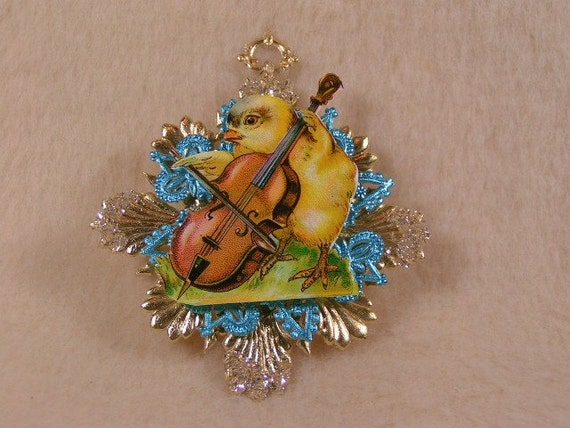 Vintage German Dresden of Blue and Gold Easter Ornament with
