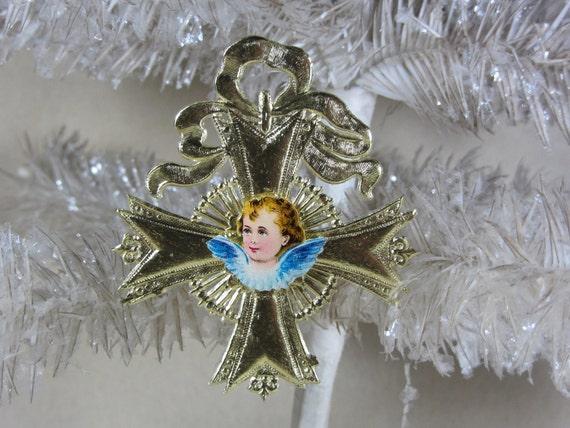 Vintage Gold Medallion Dresden Ornament with Antique Angel Head Die Cut