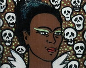 SALE Black Frida Angel With Skulls And Green Eye Shadow Original Painting on Wood