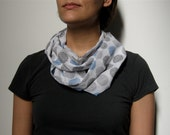 scarf cowl loop infinity dots blue black white sheer cotton voile original fabric design - security dots