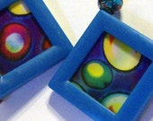 Reversible Psychedelic Moving Picture Earrings in Neon Blue