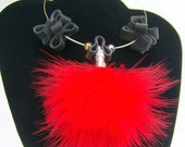Over the Top Punk Tire and Feathers Red Necklace