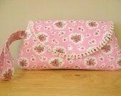 Rose fabric wristlet / clutch