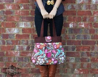 Amy Butler Soul Blossoms fabric  Pleated Handbag / Purse