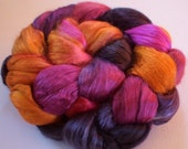 Hand Dyed Mulberry silk brick 4.3ozs Night orchid