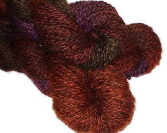 ON SALE Hand painted handspun Romney yarn 8wpi 100yds autumnal splendour