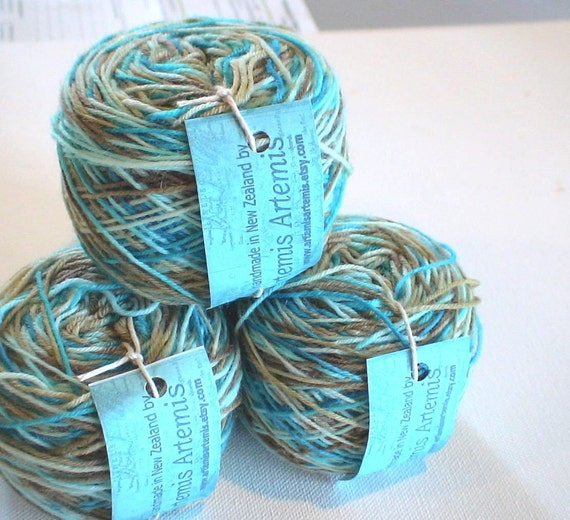 ON SALE Hand dyed superwash merino sock yarn with nylon Supersock Tidal 1.9ozs 190yds approx  4ply