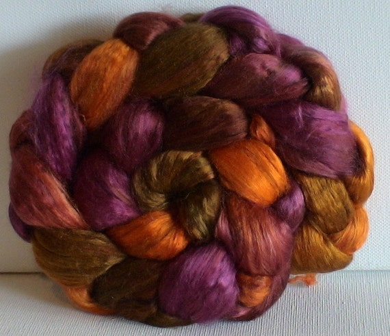 Hand Dyed Mulberry silk half brick 2.15 Plum and Ginger