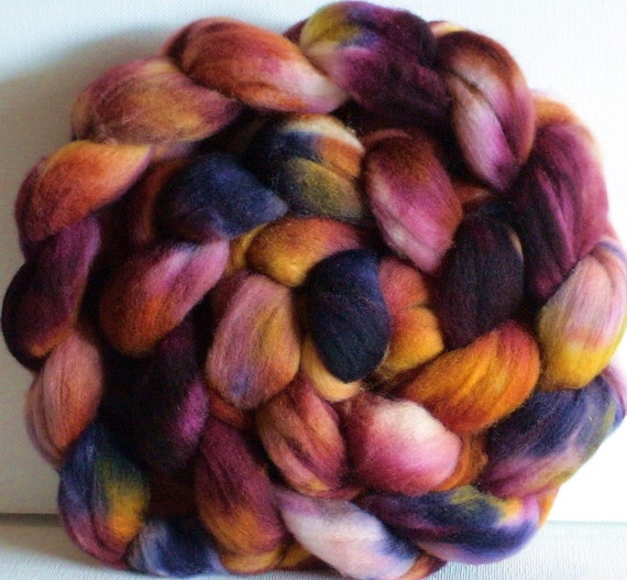 Hand Dyed Polwarth roving for spinning or felting 3.8 Ripe Fruit