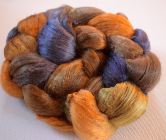 Hand Dyed Mulberry silk brick 4.3ozs Burnished Earth
