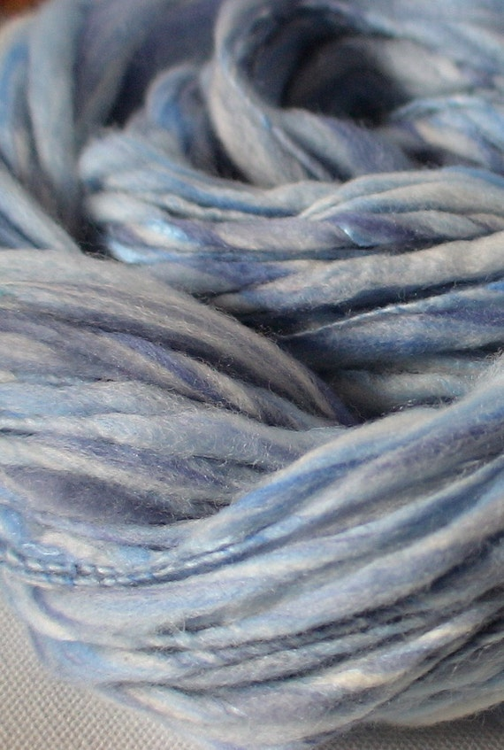 RESERVED FOR Lara Handspun bamboo merino silk yarn  bulky 80yds Boy Blue 2.4.oz