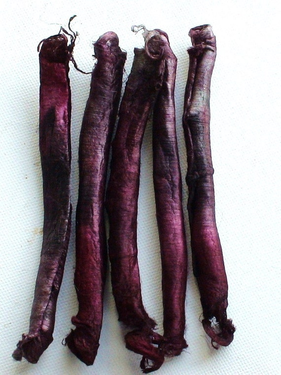 Hand Dyed Mulberry silk carrier rods 5 pieces