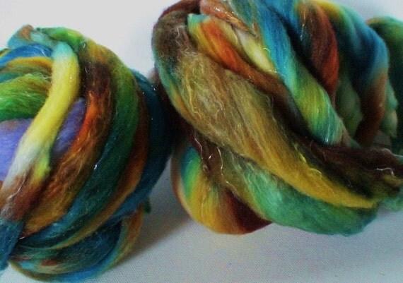 Handmade Wool roving for spinning FiberArtemis Gourmet Roving 2.3ozs hand dyed superfine merino silk