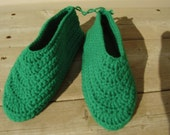 Kelly Green Crochet Slippers Adult Size Small