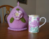 Dusty Rose Crochet and Felted Teapot Cozy