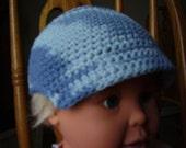 6T-12 mo Denim Blue Crochet Cotton Newsboy Hat/Cap