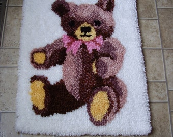 Hooked Teddy Bear Rug or Wall Hanging